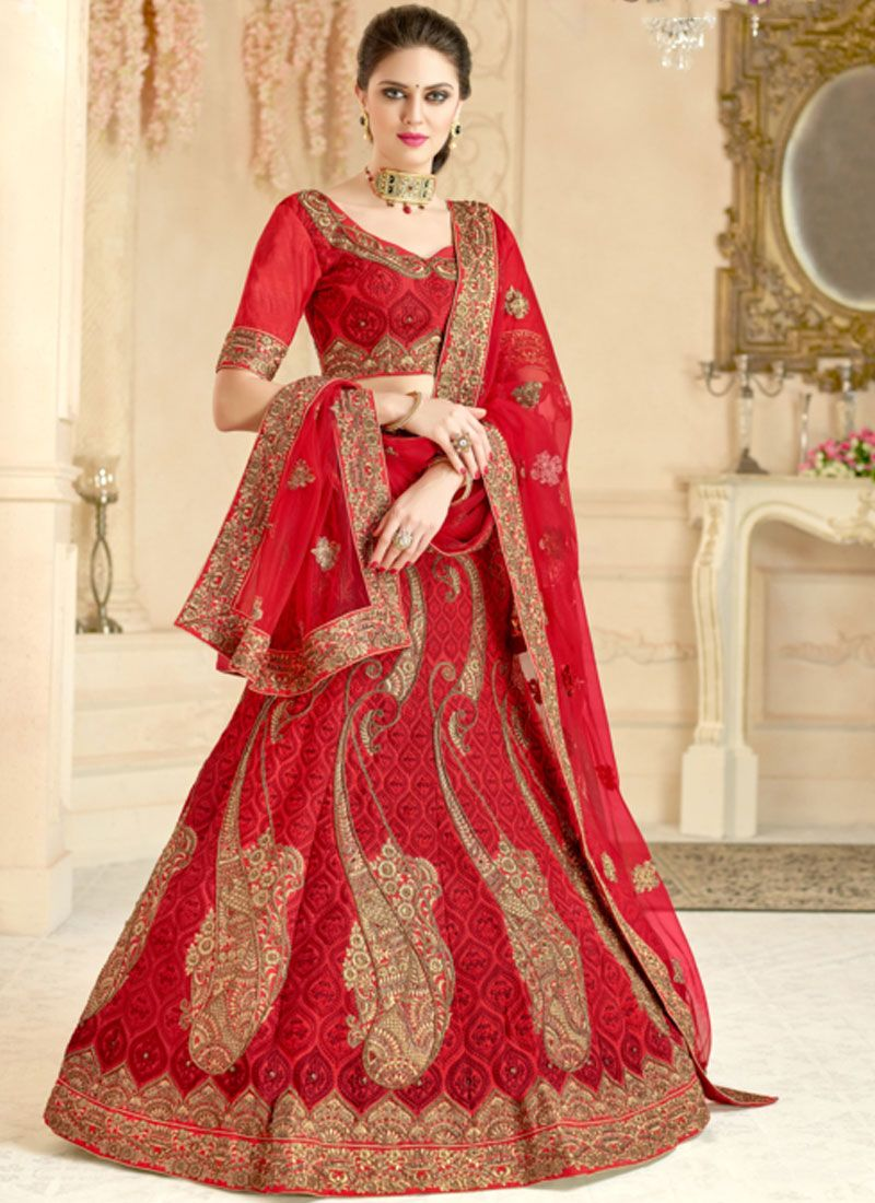 Art Silk Lace Lehenga Choli in Red