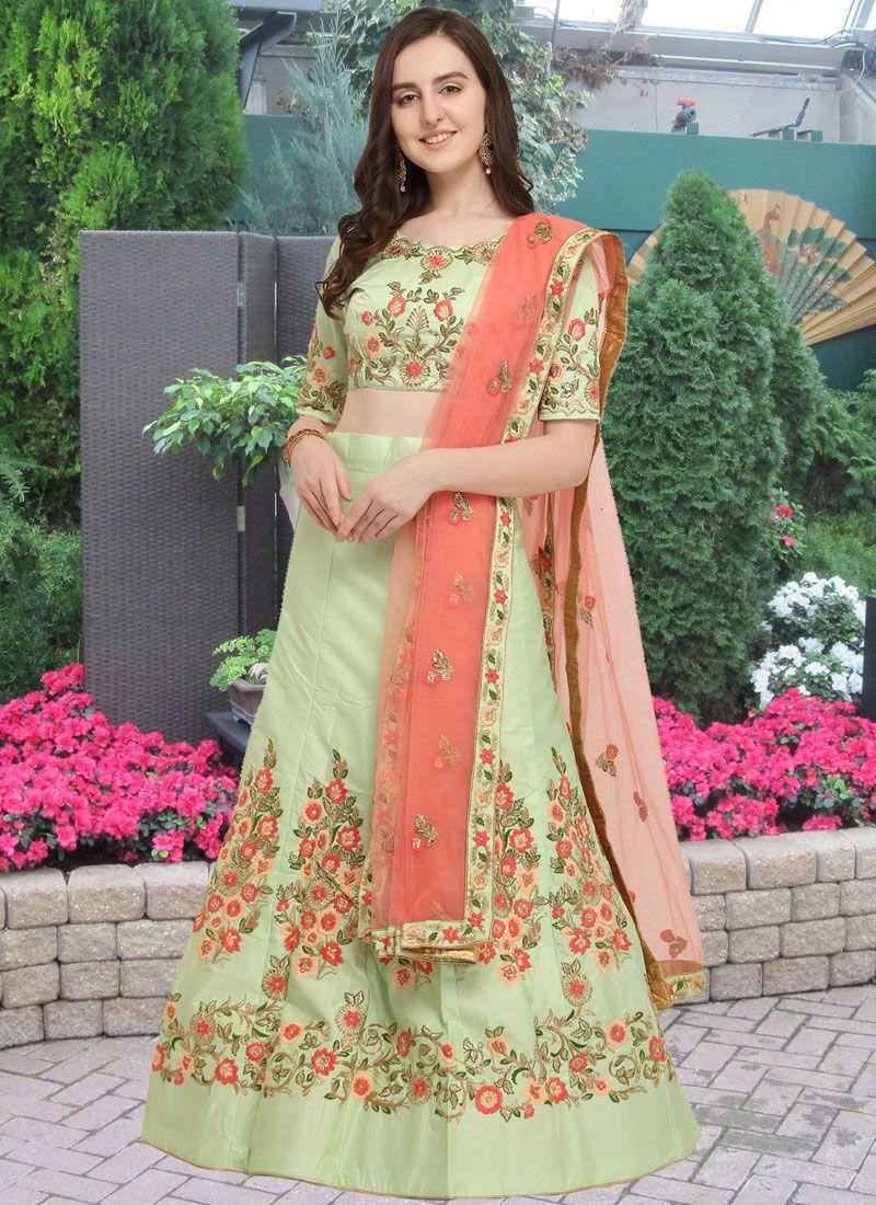 Art Silk Lace Lehenga Choli in Sea Green