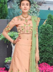 Art Silk Lace Peach Lehenga Choli