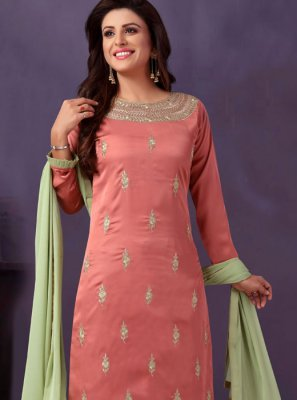 Art Silk Lace Pink Readymade Suit