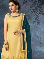 Art Silk Lace Readymade Suit in Teal and Yellow