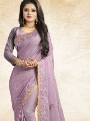 Art Silk Lavender Patch Border Traditional Saree