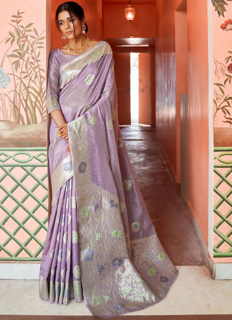 Art Silk Lavender Traditional Designer Saree
