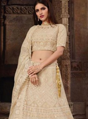 Art Silk Lehenga Choli in Cream