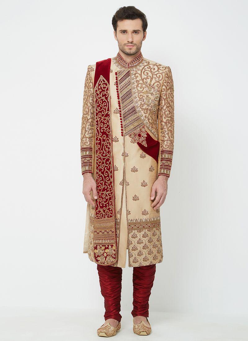 2b0978c6ba Art Silk Machine Embroidery Gold Indo Western Sherwani buy online -