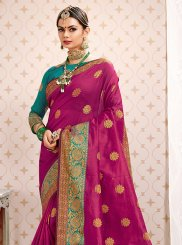 Art Silk Magenta Designer Traditional Saree