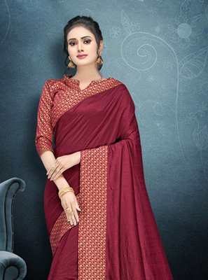Art Silk Magenta Lace Classic Saree