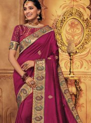 Art Silk Magenta Traditional Saree
