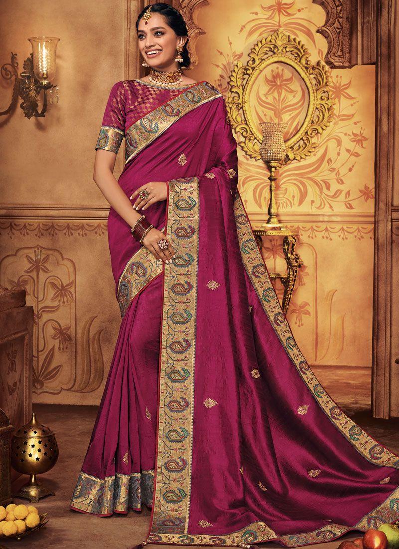 Art Silk Magenta Traditional Saree