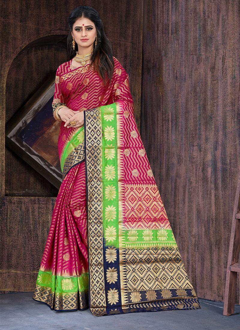 Art Silk Magenta Weaving Designer Traditional Saree