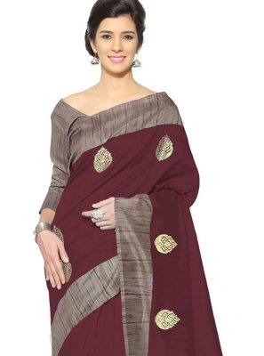 Art Silk Maroon Casual Saree