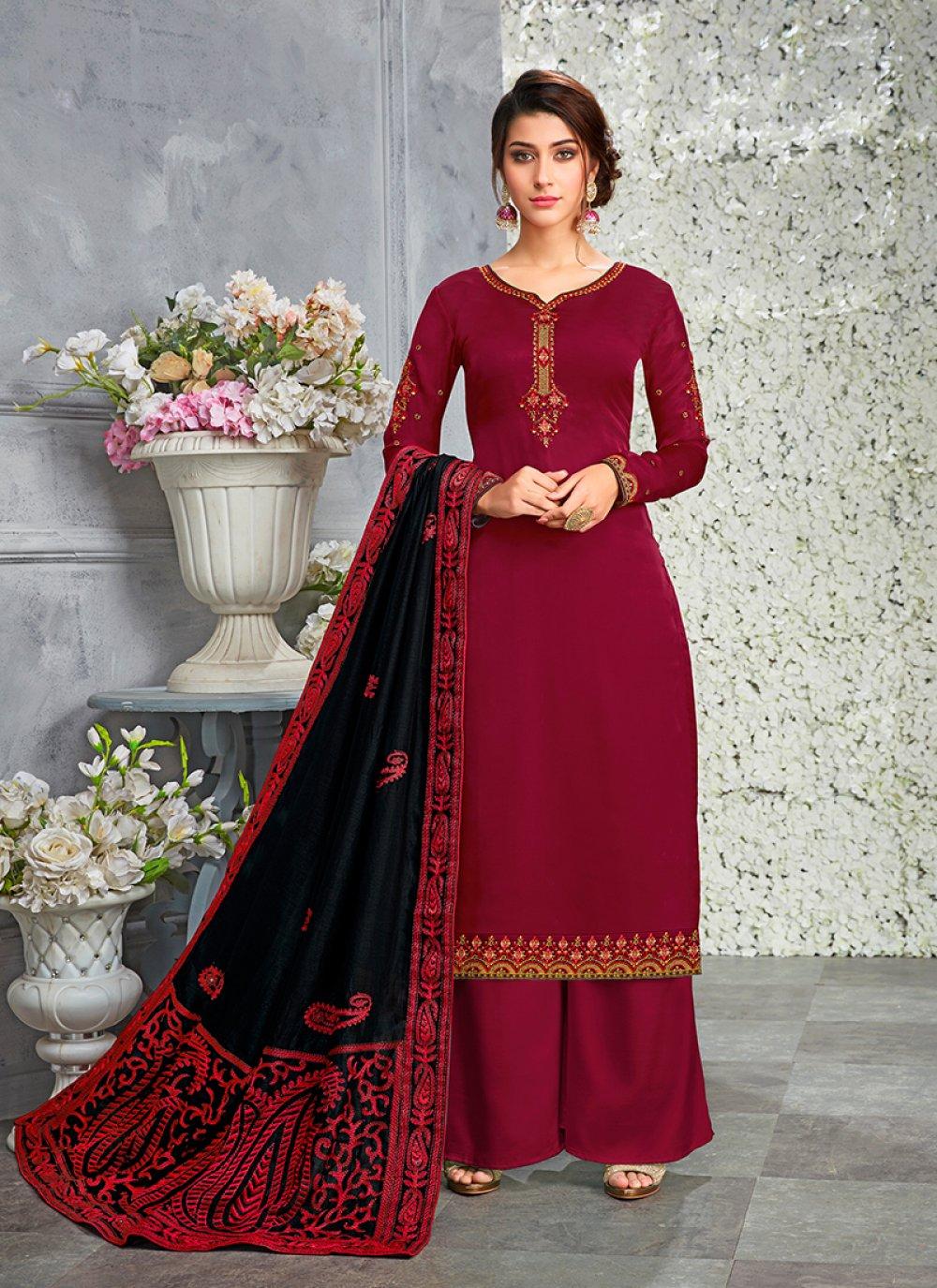 Art Silk Maroon Designer Pakistani Suit