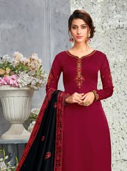 Art Silk Maroon Designer Pakistani Suit