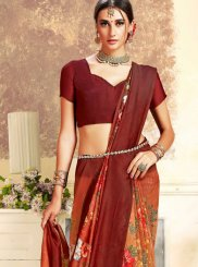 Art Silk Maroon Digital Print Trendy Saree