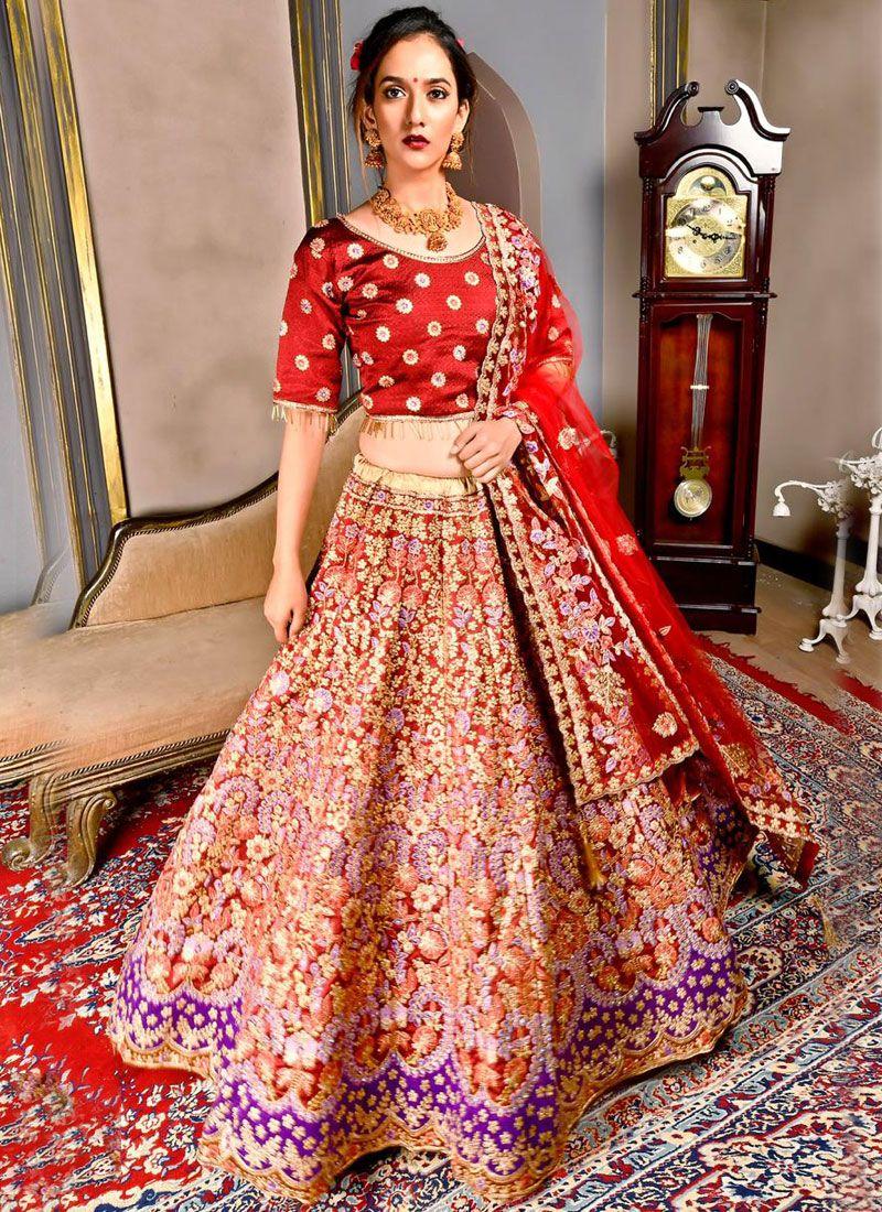 Art Silk Maroon Dori Work Designer Lehenga Choli