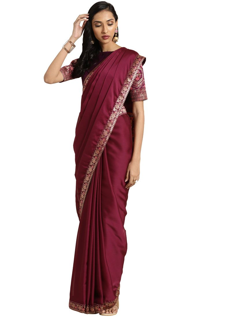 Art Silk Maroon Embroidered Classic Saree
