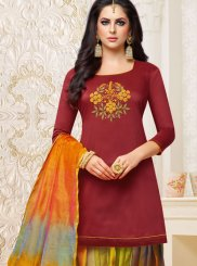 Art Silk Maroon Embroidered Designer Patiala Suit