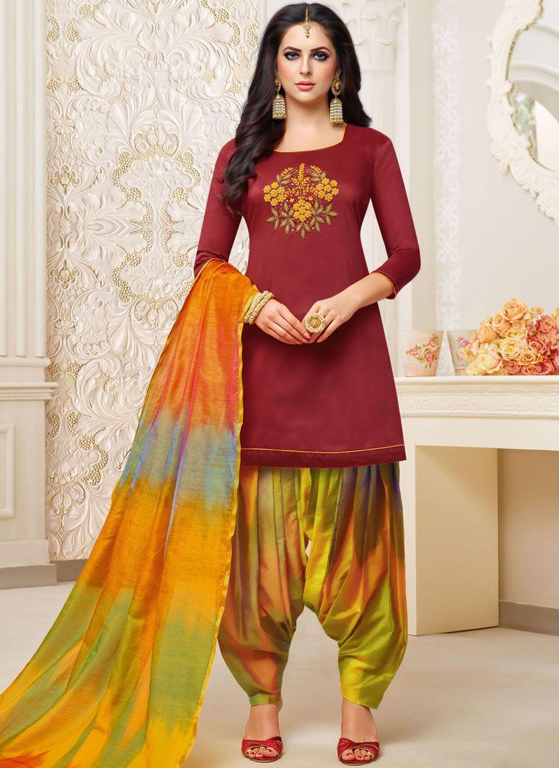 Art Silk Maroon Embroidered Designer Patiala Suit