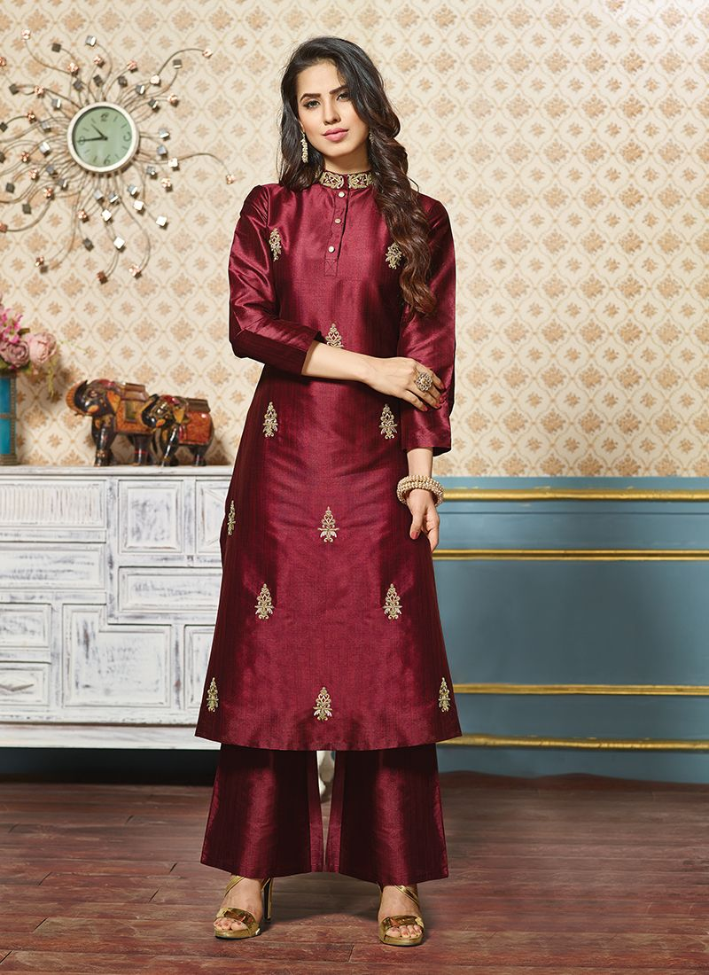 Art Silk Maroon Embroidered Party Wear Kurti