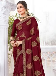 Art Silk Maroon Embroidered Traditional Designer Saree