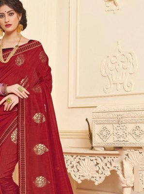 Art Silk Maroon Foil print Trendy Saree