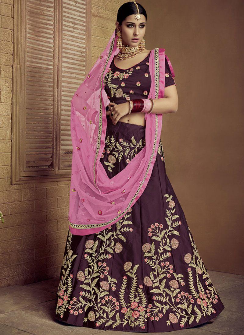 Art Silk Maroon Lace Lehenga Choli