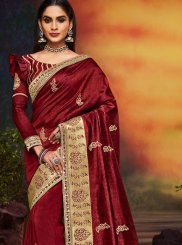 Art Silk Maroon Patch Border Designer Traditional Saree