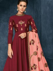 Art Silk Maroon Readymade Suit