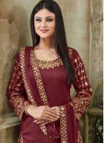 Art Silk Maroon Resham Designer Patiala Suit