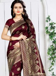 Art Silk Maroon Weaving Traditional Designer Saree