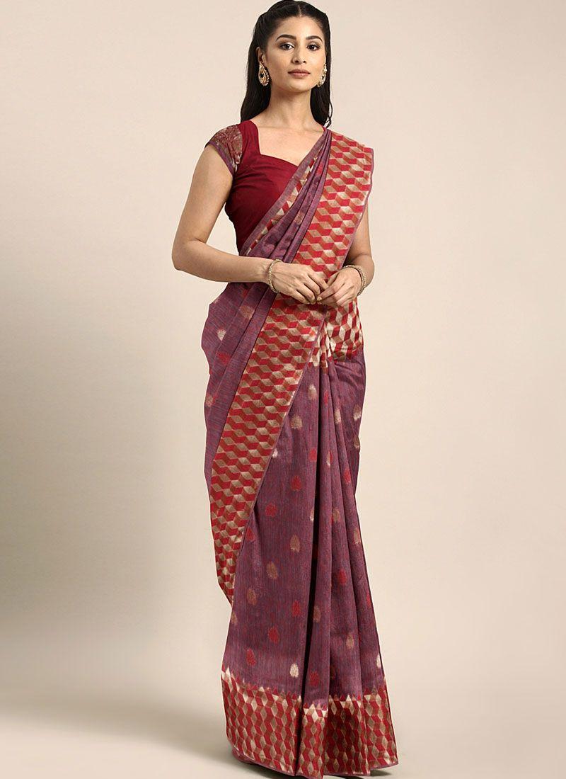 Art Silk Maroon Weaving Traditional Designer Saree