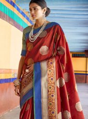 Art Silk Maroon Weaving Traditional Saree