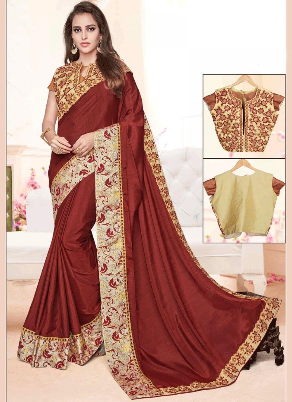 Art Silk Maroon Zari Work Designer Traditional Saree