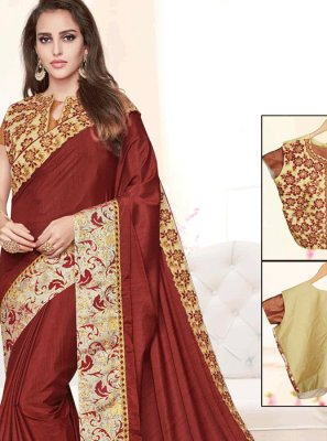 Art Silk Maroon Zari Work Designer Traditional Saree