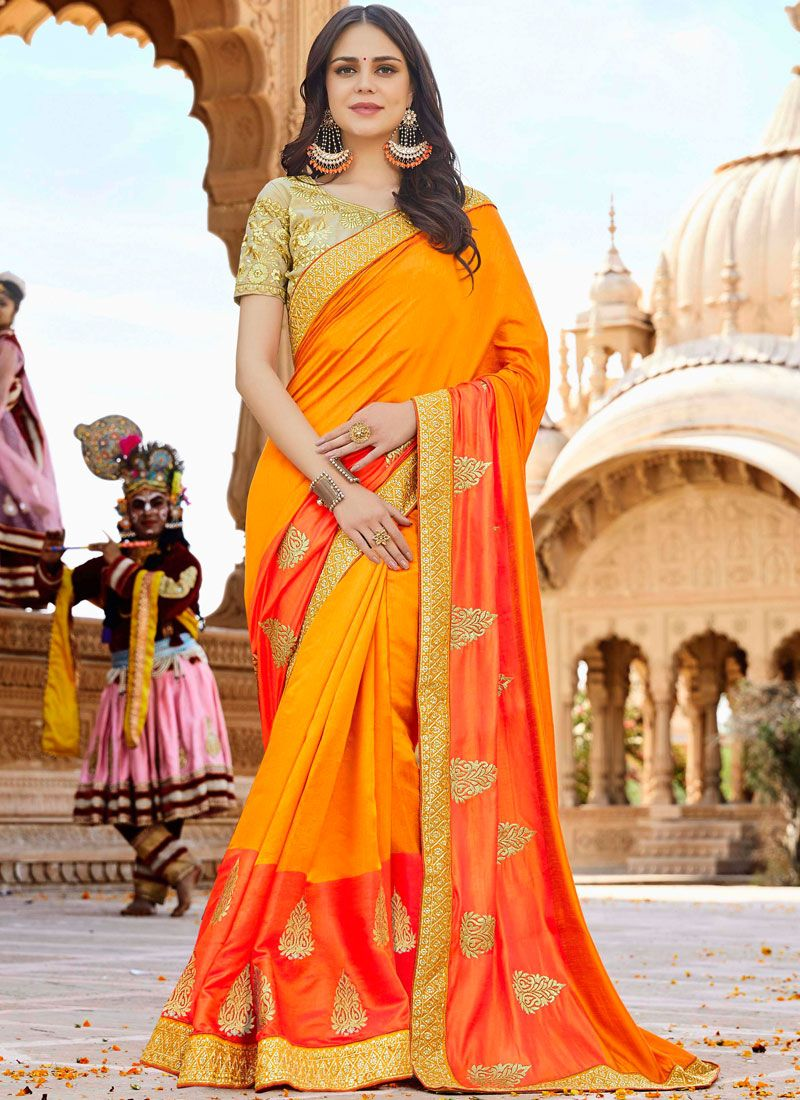 Art Silk Mehndi Designer Saree