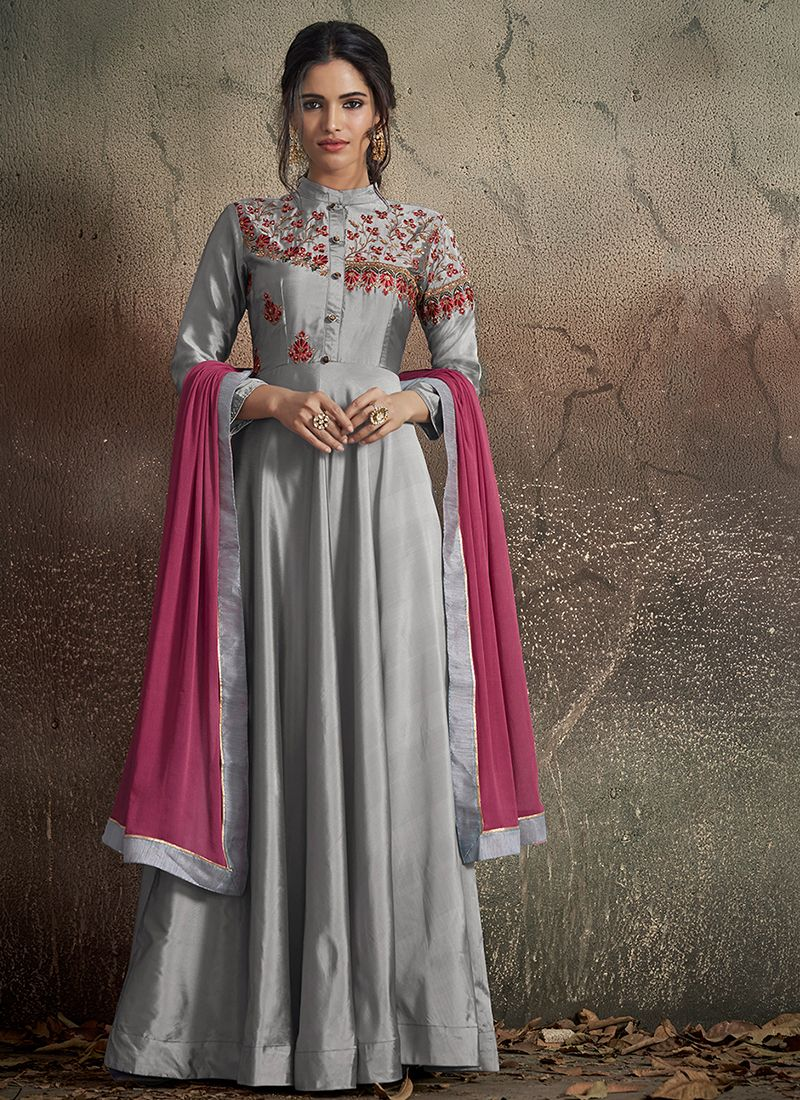 Art Silk Mehndi Readymade Gown