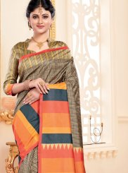 Art Silk Multi Colour Abstract Print Traditional Saree