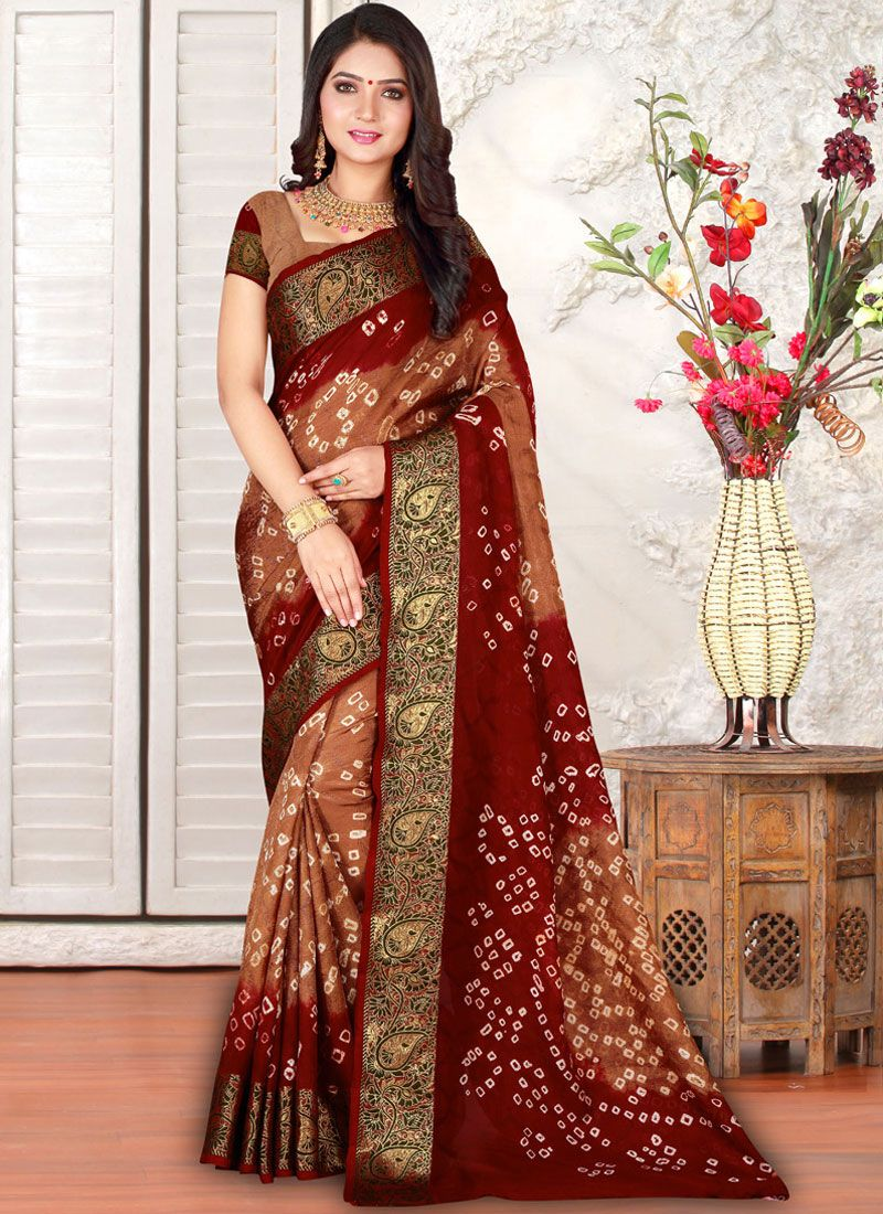 Art Silk Multi Colour Bandhej Casual Saree