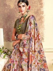 Art Silk Multi Colour Digital Print Silk Saree