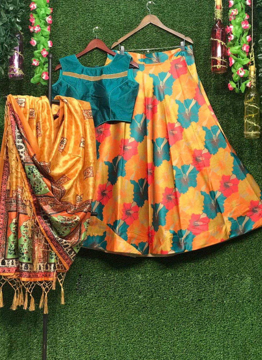 Art Silk Multi Colour Print Lehenga Choli