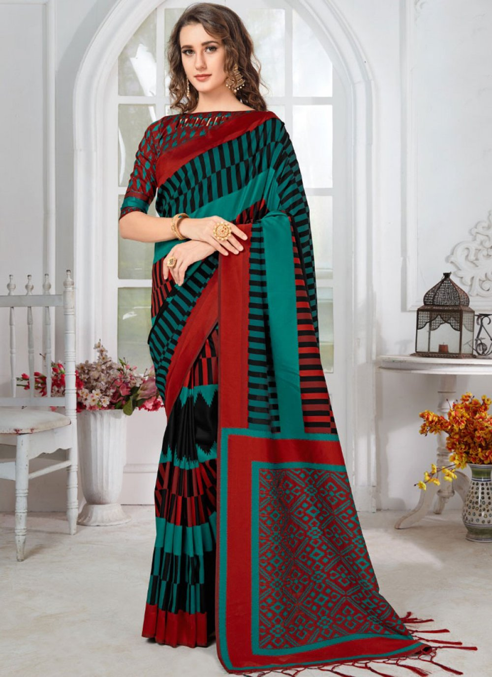 Art Silk Multi Colour Printed Designer Traditional Saree