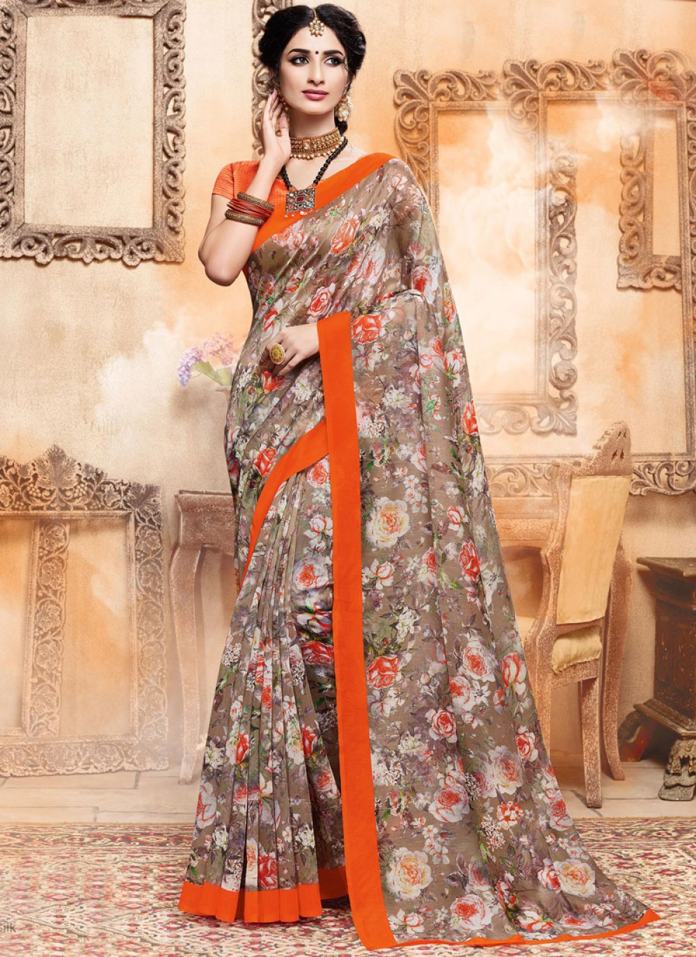 Art Silk Multi Colour Printed Saree