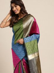 Art Silk Multi Colour Weaving Classic Saree
