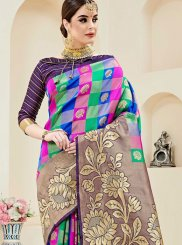 Art Silk Multi Colour Weaving Designer Traditional Saree