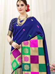 Art Silk Multi Colour Weaving Traditional Designer Saree