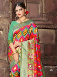 Art Silk Multi Colour Woven Designer Traditional Saree