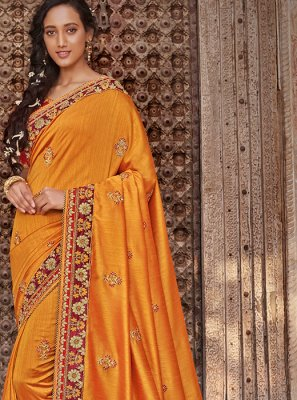 Art Silk Mustard Embroidered Designer Traditional Saree