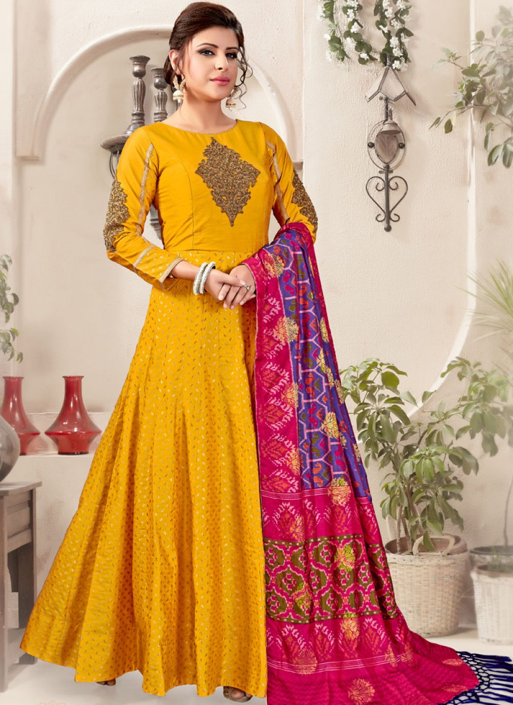 Art Silk Mustard Embroidered Readymade Suit