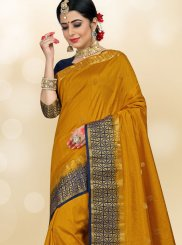 Art Silk Mustard Traditional Designer Saree