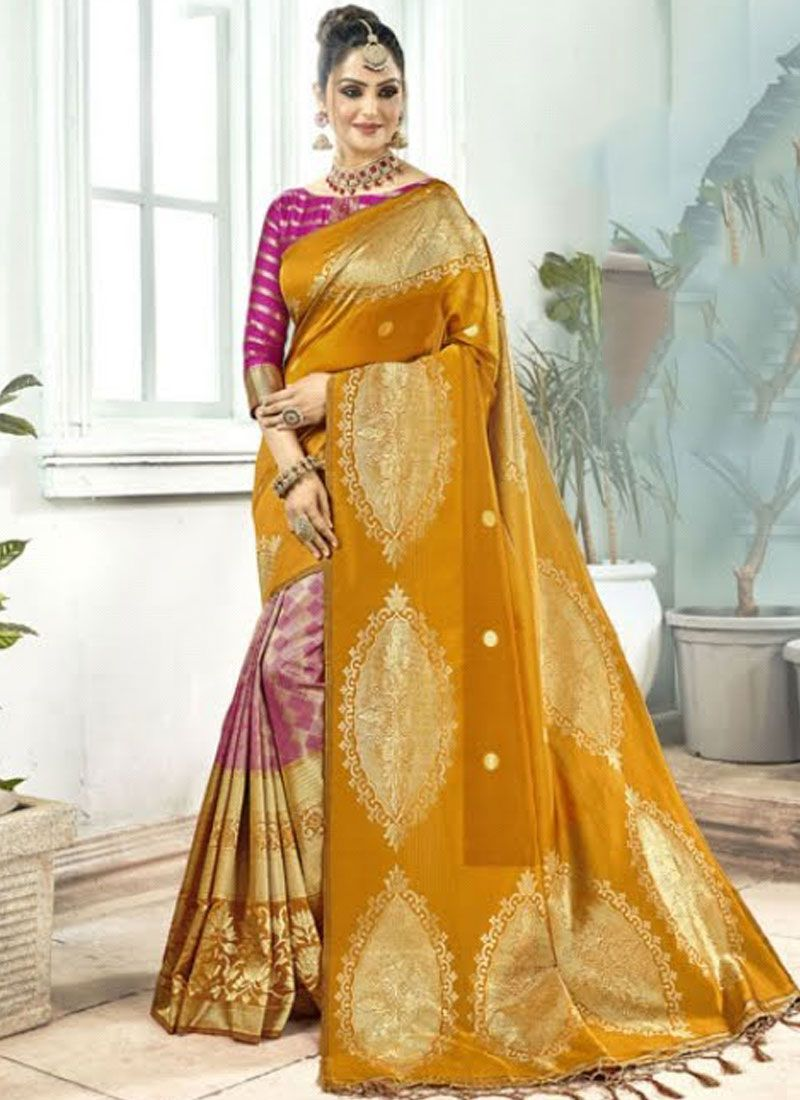 Art Silk Mustard Weaving Traditional Designer Saree